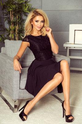 157-2 Dress MARTA with lace - black